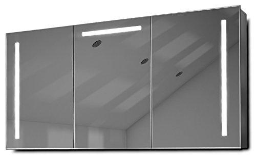 Diamond X Collection Cali LED-Badezimmerschrank mit Spiegelheizung, Sensor & Rasierer k378 (Abgeschrägte Kante Spiegel Schrank)