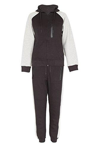 Noroze DL Funk Kinder Jungen Kontrastfarbige Arme Fleece Trainingsanzug (Schwarz, 7-8 Jahre) (Armee Anzüge Für Kinder)