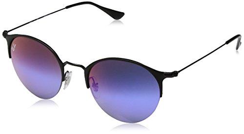 Ray-Ban Rayban Unisex-Erwachsene Sonnenbrille 3578, Matte Black/Greenmirrorbluegradientvio, 50