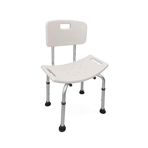 Cablematic Sedia da doccia regolabile in altezza per anziani, Bianco/Argento
