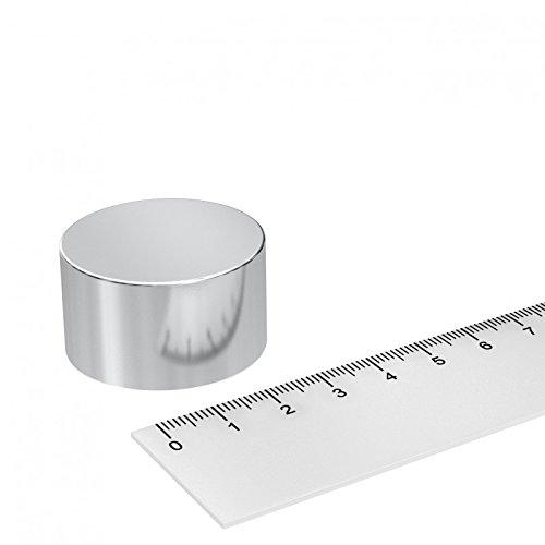 Neodym Scheiben Magnet, 35 x 20 mm, vernickelt, Grade N42, starker Industriemagnet