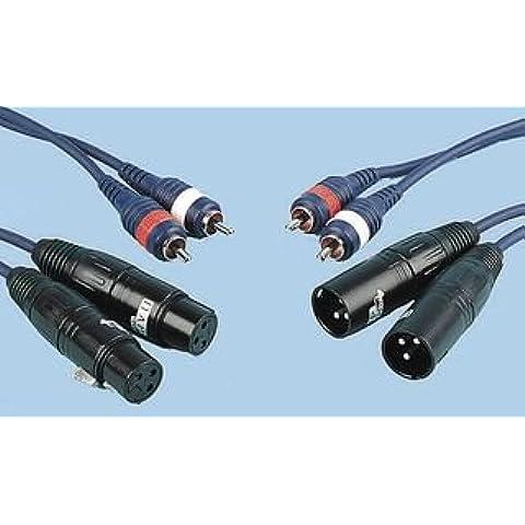 Tk9k - Cavo adattatore 2 x XLR (F) a 2 x RCA (P) connettore di tipo A: Presa XLR a 3 vie x 2 connettore di tipo B: Phono (RCA) Plug x 2 Lunghezza del cavo: 1,5 m Numero di poli: 3