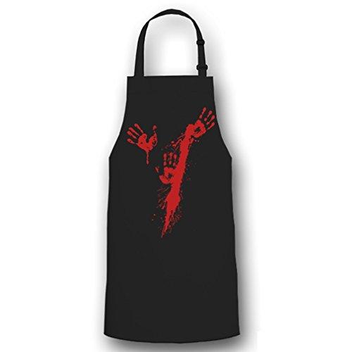 (Blutspritzer Hände Metzger Blutig Halloween Aufdruck Kostüm Fun Humor Horror Messer Spaß - Kochschürze / Grillschürze #6077)