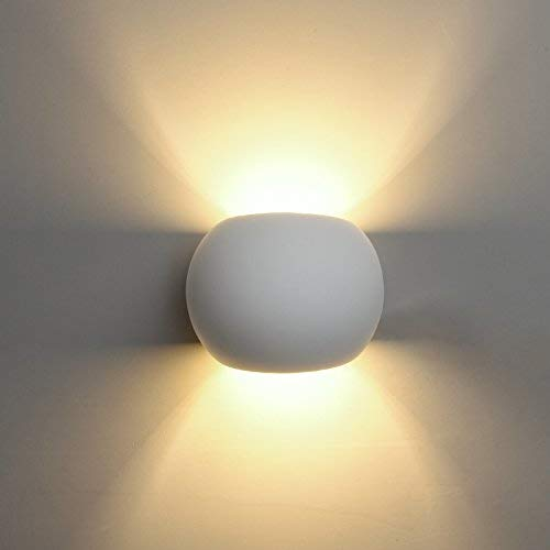DECKEY LED Gips Wandleuchte kugelförmige Gipsleuchte modernes Design mit einer ersetzbaren G9 LED-Stiftsockellampe, 3W warmweiß indirektes Licht -