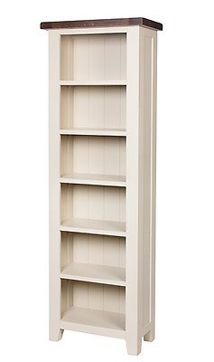 Woodbury Dove Grey Painted Chunky Rustic Dark Oak Open Slim Narrow Bookcase Display Unit , Dark Oak / Dove Painted Base, H 180 x W 60 x D 30