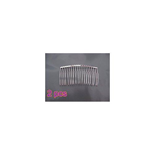 Tinksky 2 Pcs 7,8 cm 20 dents fantaisie métallique bricolage cheveux Clip peigne Wedding Bridal Veil peigne