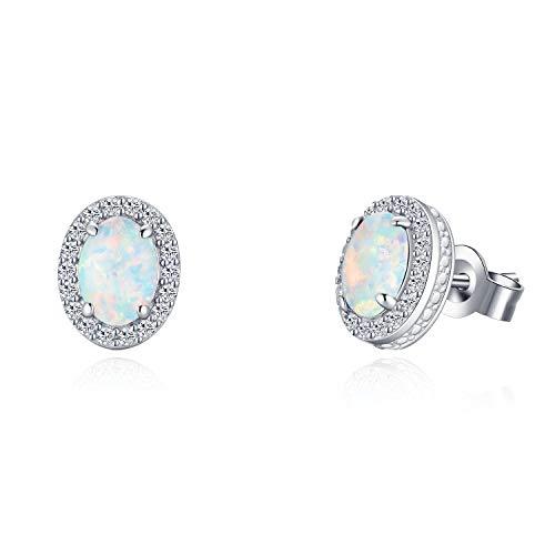 Weiß Opal Ovale Ohrringe Ohrstecker aus 925 Sterling Silber für Frauen Mädchen Baby Kinder - Größe: 10 * 8 mm