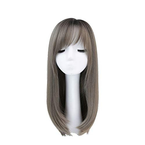 LIHY Perücke weiblich, 57cm lang gerade rundes Gesicht Cosplay natürliche Luft Pony volle Perücke (Farbe : Green Wood Linen ash)