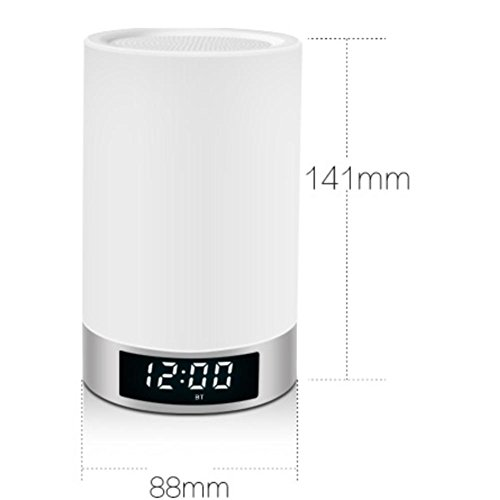 Image of KKVV Portable Automatic Touch Sensor Bedside Lamps Table Lamps and Smart Lamp with Wireless Bluetooth Speaker and Night Light(White)