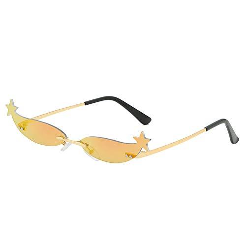 SYQA Stern Spiegel Sonnenbrille Schmale Kleine Rahmen Weibliche Sonnenbrille Mode Shades Für Frauen Metall Katze Sonnenbrille,C6