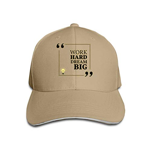 at Hat Baseball Caps Inspirational motivational Quote Work Hard Dream Big Simple trendy Design Variegated ()