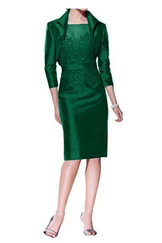 Prom Style Elegant Armlos Spitze Brautmutterkleider Abendkleider Etuikleid Knielang mit Bolero Kurz Grün