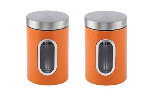 Edelstahl Kanister Set, 1.2l mit Fenster, Edelstahl, Orange, 2pc