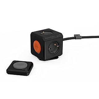 allocacoc Eco PowerCube Remote Extended Schwarz mit Power Remote - Fernbedienung, 4-fach Steckdose zum Stromsparen, 230V Schuko, schwarz