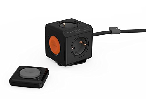 allocacoc Eco PowerCube Remote Extended Schwarz mit Power Remote - Fernbedienung, 4-fach Steckdose zum Stromsparen, 230V Schuko, schwarz -