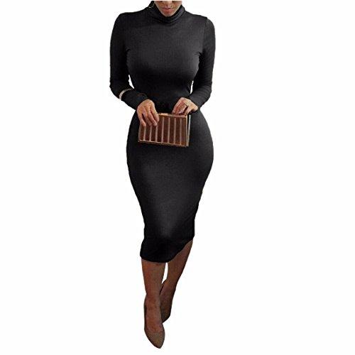 Les femmes rondes robes minces sexy cou a manches longues Bandage jupe robe de coton Noir