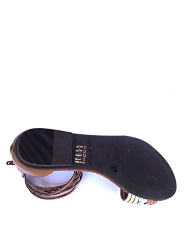 Sandali tacco basso DV52 in pelle Divine Follie schiava MainApps Cuoio