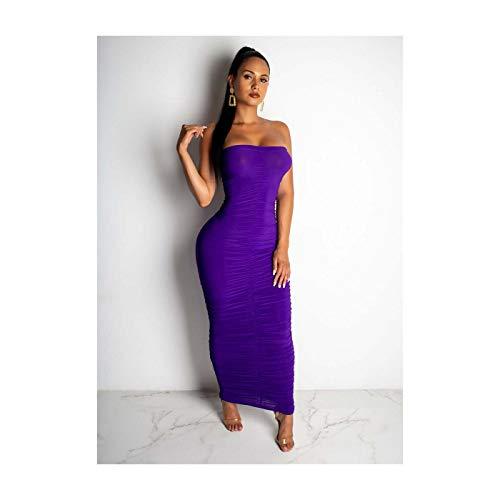Women Sexy Strapless Solid Color Draped Bodycon Casual Club Party Midi Dress Purple XXL