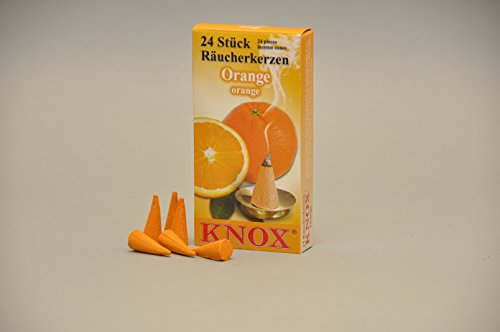 Knox räucher candele/coni di incenso-profumi-24pezzi/Pkg. diverse fragranze disponibili, arancione, 12,5 x 6,5 x 2,0 cm