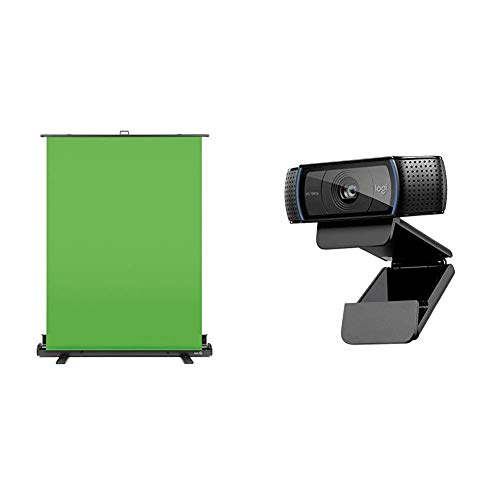 Elgato Green Screen - Ausfahrbares Chroma-Key-Panel zur Hintergrundentfernung mit automatisch arretierendem Rahmen & Logitech C920 HD Pro Webcam schwarz Chroma Green Screen