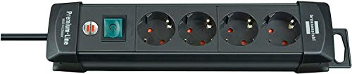 Brennenstuhl Premium-Line, Steckdosenleiste 4-fach (Steckerleiste mit Schalter und 1,8m Kabel -45° Winkel der Schutzkontakt-Steckdosen) Farbe: schwarz