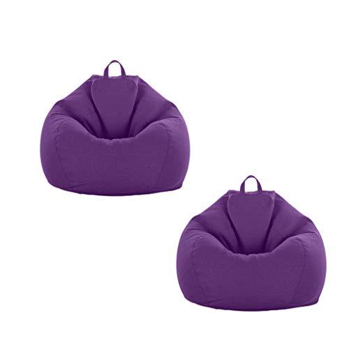 F Fityle 2er XXL Sitzsack Bezug Sitzsackhülle Abdeckung ohne Füllung, 90 x 110cm - Lila