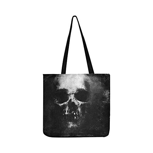 Furchtsamer Schmutz-Schädel lokalisiert auf schwarzem Segeltuch Tote Handtasche Schultertasche Crossbody Taschen Geldbörsen für Männer und Frauen Einkaufstasche