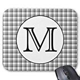 Custom Monogram. Nero e Bianco con grigio controllare. Tappetino per mouse