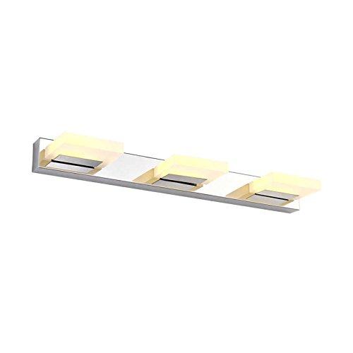 JoyNano 9W LED Spiegelleuchten Moderne Kurz 3-Light-Platz Wandlampen 3200K Warmweiß Badezimmer Schlafzimmer Kabinett Make-up Lampe Edelstahl Basis Acryl Shell (Basis Kurze)