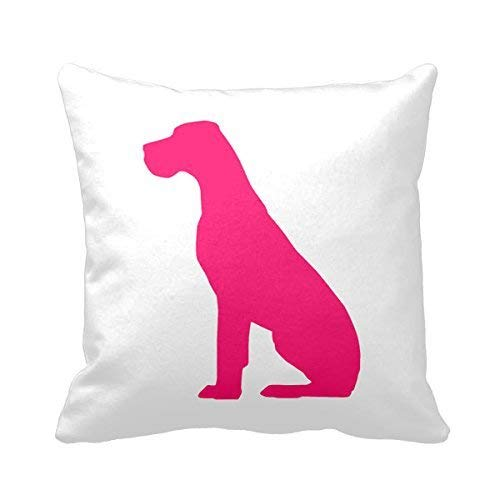 Hot Pink Natural Ear Great Dane Square Pillow Cases Decorative Home Decor - Dane Zip