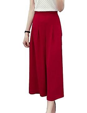 Pantaloni Donna Vita Alta Eleganti Estivi Pantaloni Larghi Pantaloni Taglie Forti Moda Casual Pantalone Rosso XL
