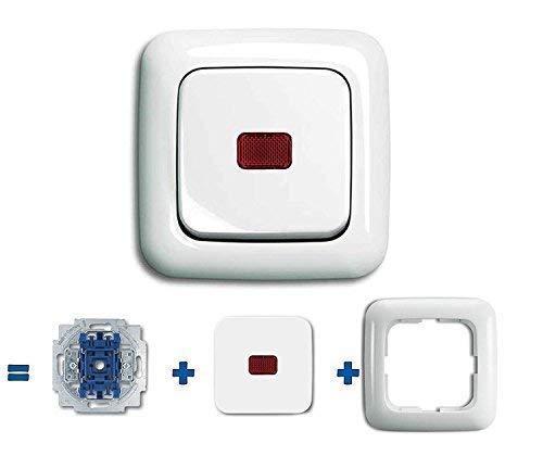Busch Jäger Komplettset Lichtschalter, 1 x Wippschalter permanent beleuchtet (2000/6 USGL) mit Wippe (rote Kalotte) Rahmen komplett einbaufertig - z.B. als Kellerlicht Schalter alpinweiß - Reflex SI