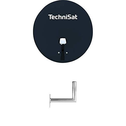 TechniSat TechniTenne 60 Satellitenschüssel (60 cm digital Sat Anlage/Antenne mit Masthalterung und Universal Twin LNB für bis zu Zwei Teilnehmer) anthrazit + TechniPlus 35 Sat-Wandhalterung 35 cm