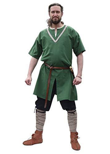 Battle-Merchant Mittelalter Tunika mit Bordüre, Kurzarm versch Farben - Wikinger LARP Herren Männer (Grün, - Wikinger Kostüm Muster