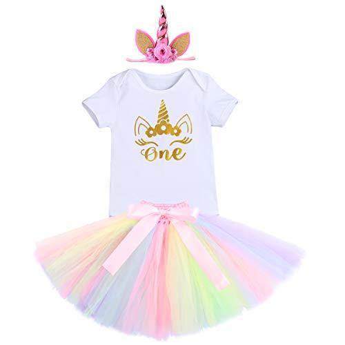 (FYMNSI Einhorn Baby Mädchen Geburtstag Outfit Kleinkinder Es ist Mein 1. Geburtstag Party Kostüm Set Kurzarm/Ärmellos Strampler Body Regenbogen Tütü Rock Stirnband 3tlg Bekleidungssets Fotoshooting)