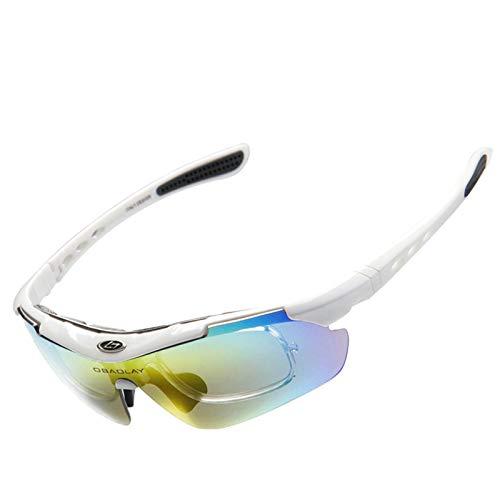 Amody Brille Männer Frauen Draussen Sports Sandproof Polarized Eyewear ReitBrille Weiß
