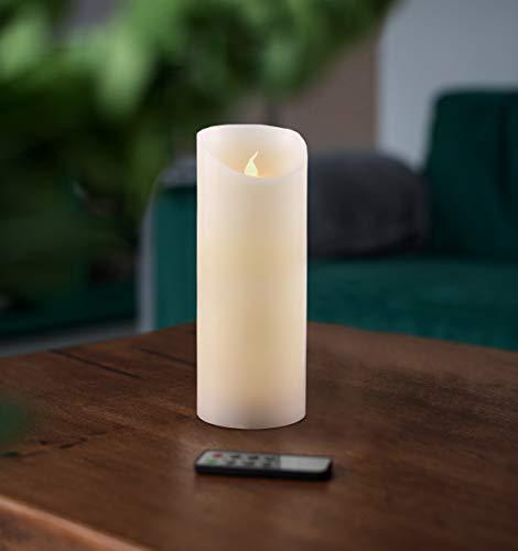 DecoKing 41551 LED Kerze 20 cm mit beweglicher Flamme Wachs Fernbedienung Timer batteriebetrieben innen außen