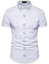 Camisa Slim Fit de Verano para Hombre Camisas de Manga Corta Formales Casual Tops Estampados Camiseta Deportiva Camiseta de Secado RáPido