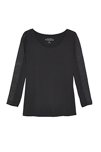 Studio Untold Damen große Größen bis 54   Sweatshirts   Langarm Shirt   Oberteil mit Chiffon   Komfort-Jersey   Rundhals, ¾ Ärmel / Stretch   Regular Fit   702631 Schwarz