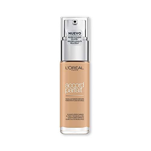 L'Oréal Paris Fondotinta Accord Parfait, Effetto Naturale, con Acido Ialuronico Peche/Peach