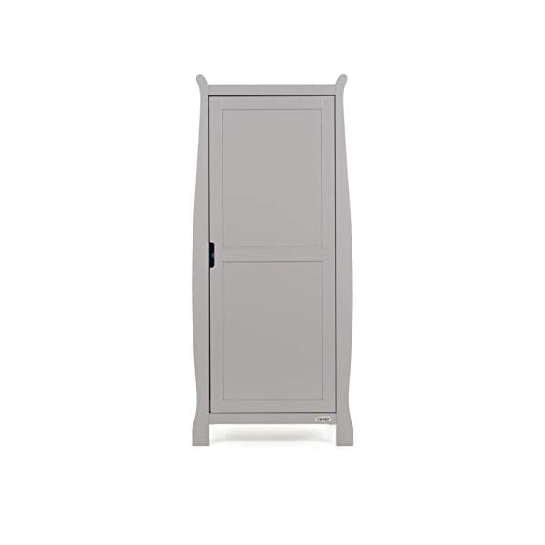 Obaby Stamford Sleigh Single Wardrobe - Taupe Grey Obaby One full height cupboard door Soft closing door 2 hanging rails ensure little ones clothes are kept neat and tidy 3