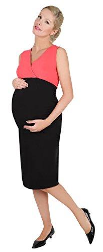 *Be! Mama 2in1 Wende-Kleid, Umstandskleid, Stillkleid, Modell: DOUBLE, schwarz-koralle, L*
