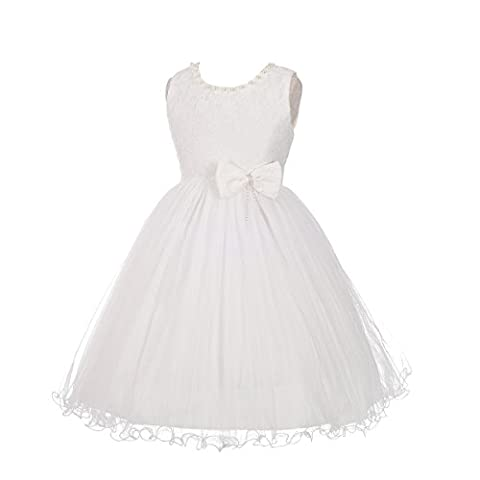 Lito Angels Girls' Lace Pearls Tulle Party Wedding Flower Girl Bridesmaid Dress Size 3-4 Years