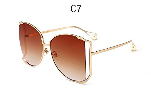 MOJINGYAN Sonnenbrillen Übergroße D Square Sonnenbrille Frauen Marke Cat Eye Klare Farben Gläser Pearl Fashion Hälfte Frame Sonnenbrillen Damen, G