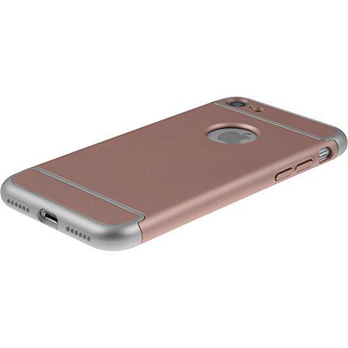 PhoneNatic Case für Apple iPhone 7 Hülle silber snap-in Hard-case für iPhone 7 + 2 Schutzfolien Roségold
