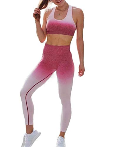 CuteRose Women's Stretch Seamless Bras - Padded Yoga Set Running Bra + Pants Rose Red XS Juicy Couture Velour Set