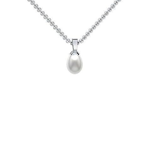 Perlenanhänger Tropfenform Silber 925 (echte hochwertige 7 mm Süßwasser Perle) Tropfen Perlen Perlenkette oval Silber 925 Silberkette weiß echt- inkl. Luxusetui FF89-3 (1 Oval-türkis-armband)