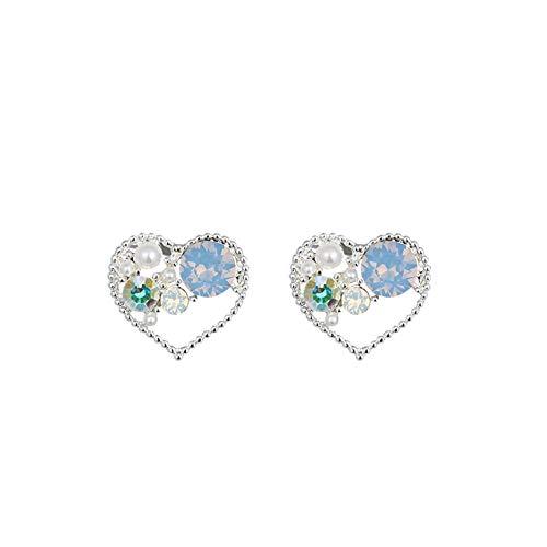 Zjlhn 925 argento sterling cuore orecchini a bottone cubic zirconia elegante orecchini per donne,silver-s