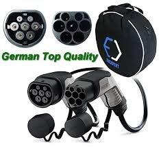 Phoenix Contact Super deutsch EV Ladekabel TYP 2 - TYP 2 (Mennekes) | 32 A | 1 Phase | Länge 5 M | 22 kW + inklusive kompakte Tasche (5 Meter, 1 Phase)