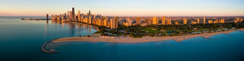 The Poster Corp Panoramic Images - Aerial View of North Avenue Beach and Lincoln Park Chicago Cook County Illinois USA Kunstdruck (12,70 x 50,80 cm)